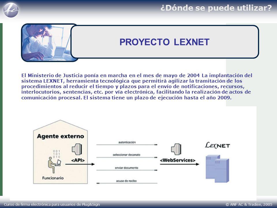¿Dónde se puede utilizar? Curso de firma electrónica para usuarios de Plug&Sign © ANF AC & Tradise, 2005 PROYECTO LEXNET El Ministerio de Justicia pon