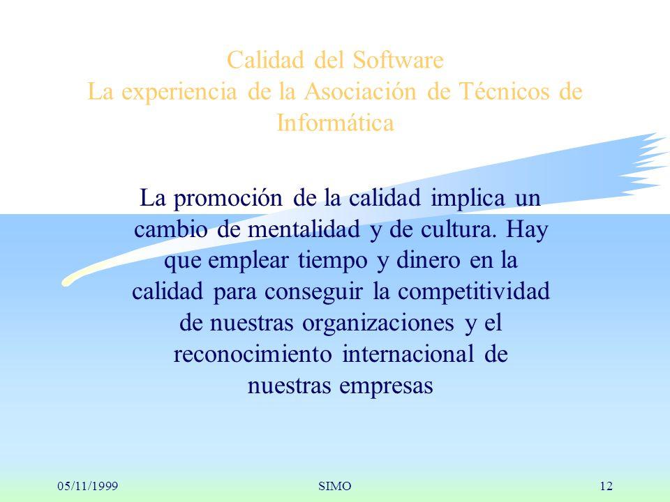 05/11/1999SIMO12 Calidad del Software La experiencia de la Asociación de Técnicos de Informática La promoción de la calidad implica un cambio de mentalidad y de cultura.