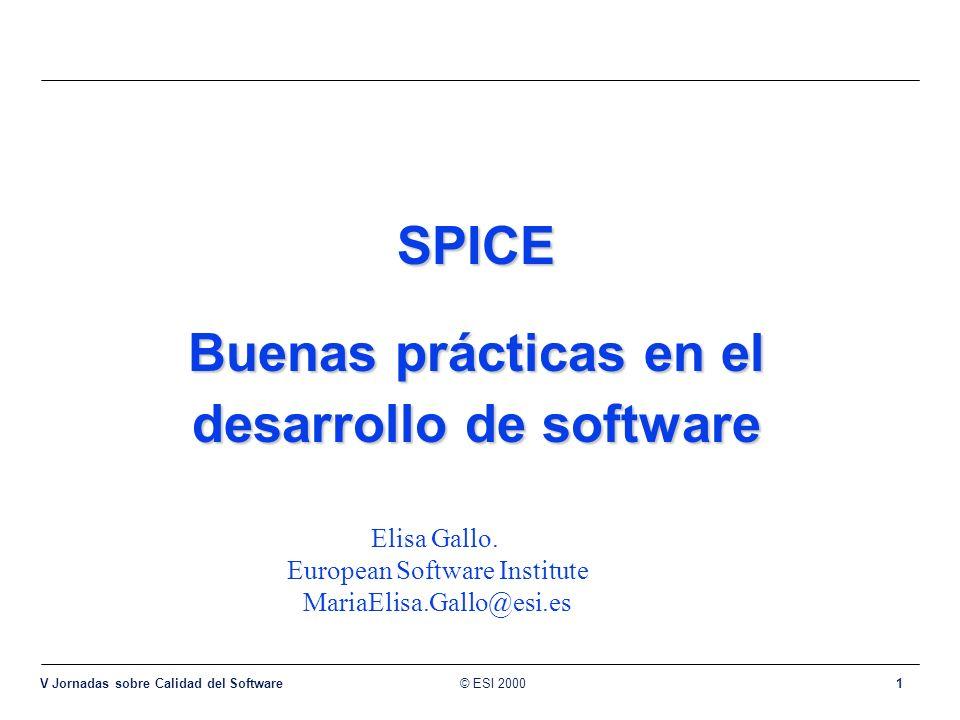 © ESI 2000 V Jornadas sobre Calidad del Software 1 SPICE Buenas prácticas en el desarrollo de software Elisa Gallo. European Software Institute MariaE