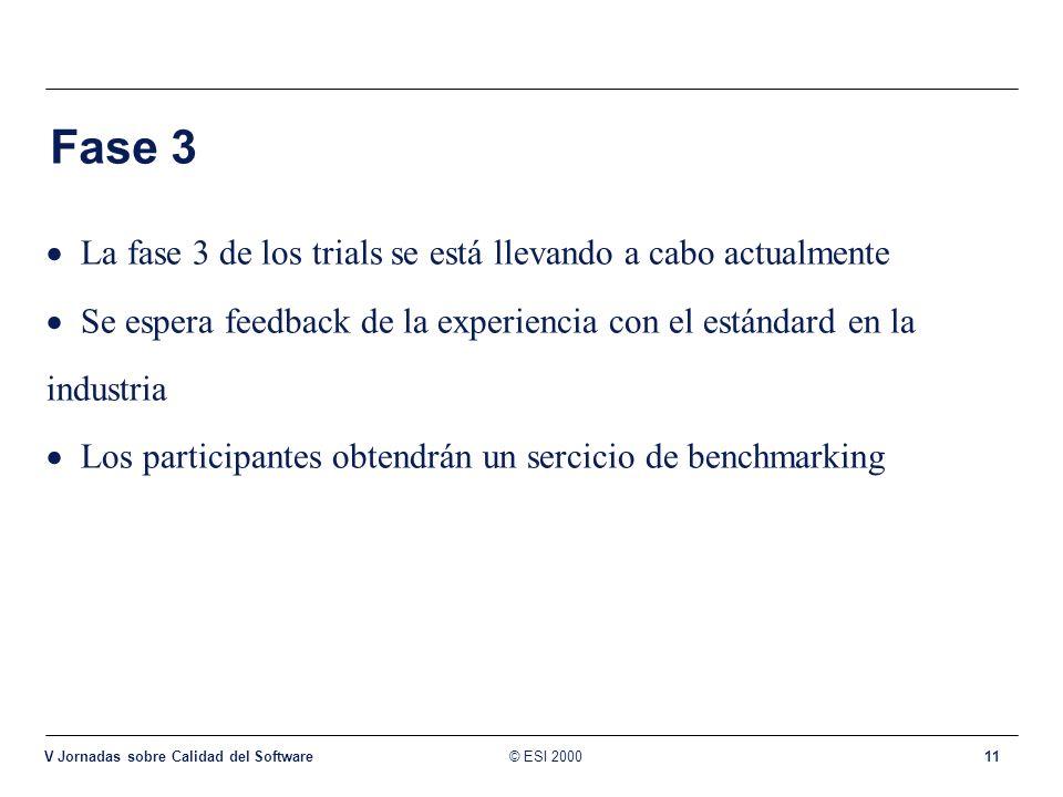 © ESI 2000 V Jornadas sobre Calidad del Software 11 Fase 3 La fase 3 de los trials se está llevando a cabo actualmente Se espera feedback de la experi
