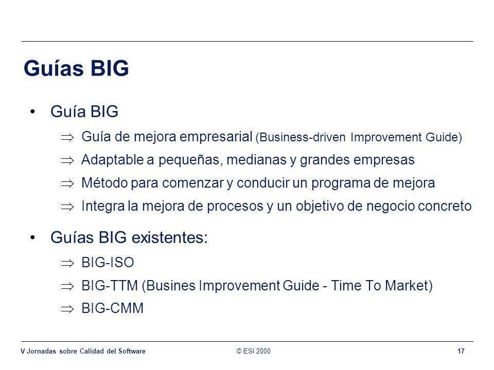 © ESI 2000 V Jornadas sobre Calidad del Software 17 Guías BIG Guía BIG Guía de mejora empresarial (Business-driven Improvement Guide) Adaptable a pequ