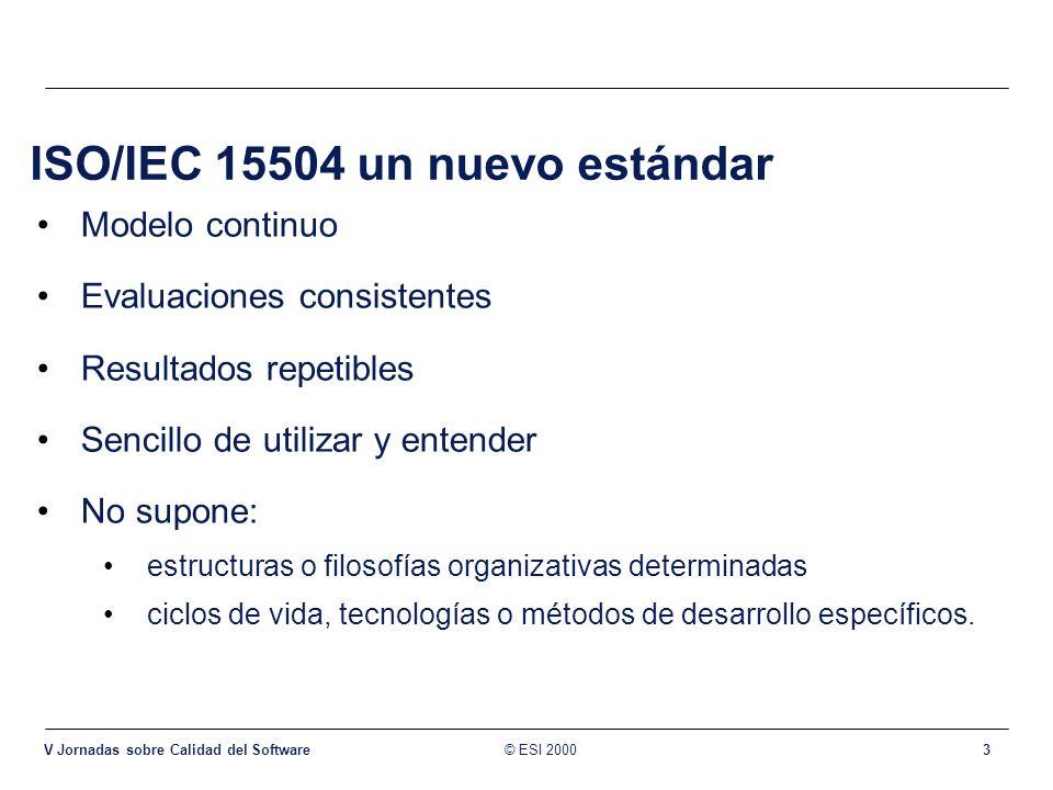 © ESI 2000 V Jornadas sobre Calidad del Software 3 ISO/IEC 15504 un nuevo estándar Modelo continuo Evaluaciones consistentes Resultados repetibles Sen