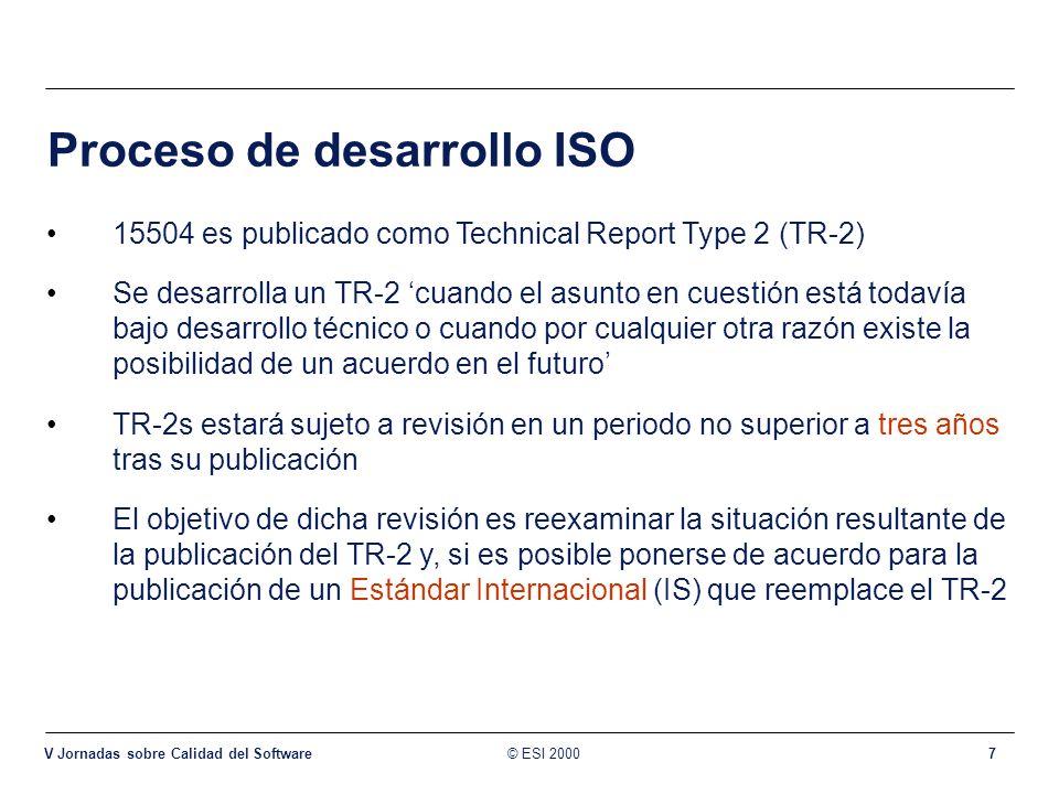 © ESI 2000 V Jornadas sobre Calidad del Software 7 Proceso de desarrollo ISO 15504 es publicado como Technical Report Type 2 (TR-2) Se desarrolla un T
