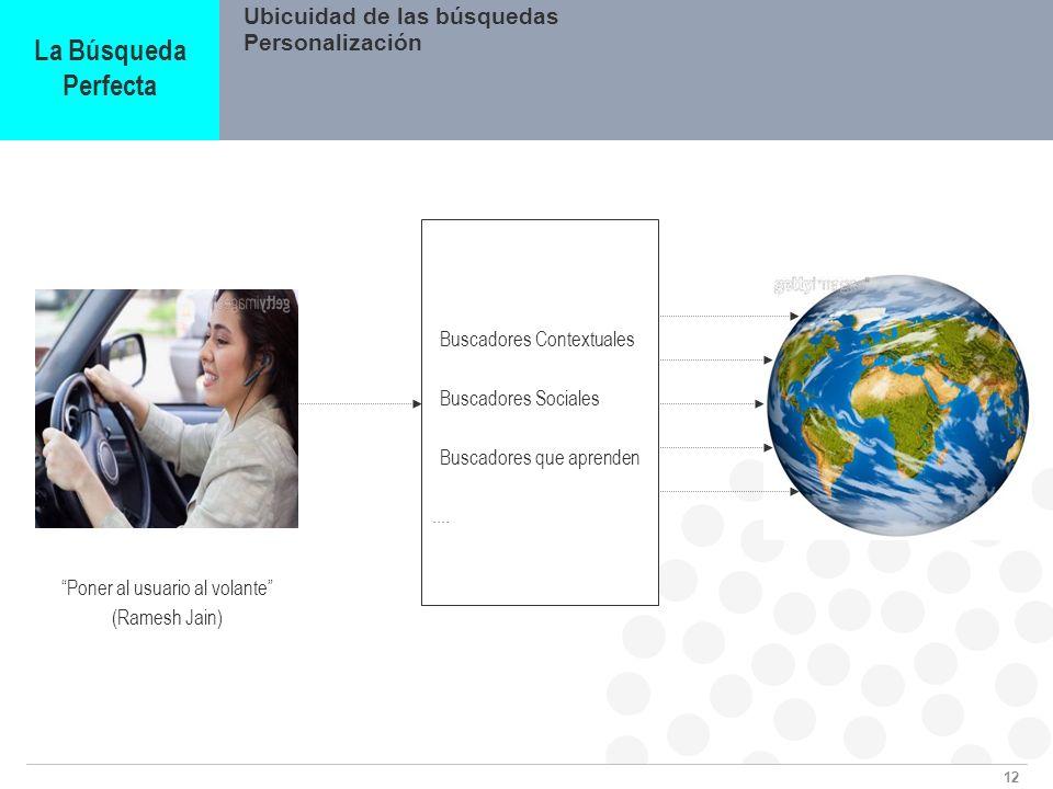 12 Ubicuidad de las búsquedas La Búsqueda Perfecta Personalización Buscadores Contextuales Buscadores Sociales Buscadores que aprenden.... Poner al us