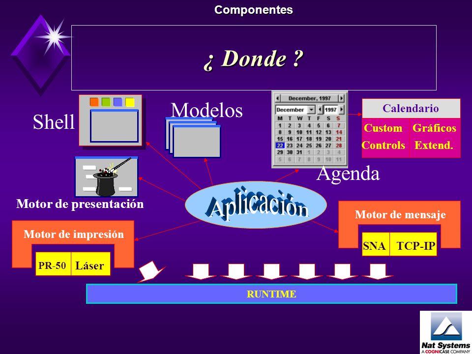Los componentes de Nat Systems Componentes Orientados a Negocio Motor de mensajes/Transaccional Motor de presentación dinámica Call Center Shell/Porta