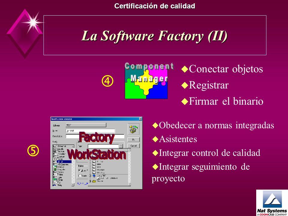 La Software Factory (I) Certificación de calidad u Decidir u Evaluar u Planificar u Integrar las normas u Normalizar u Capitalizar experiencia