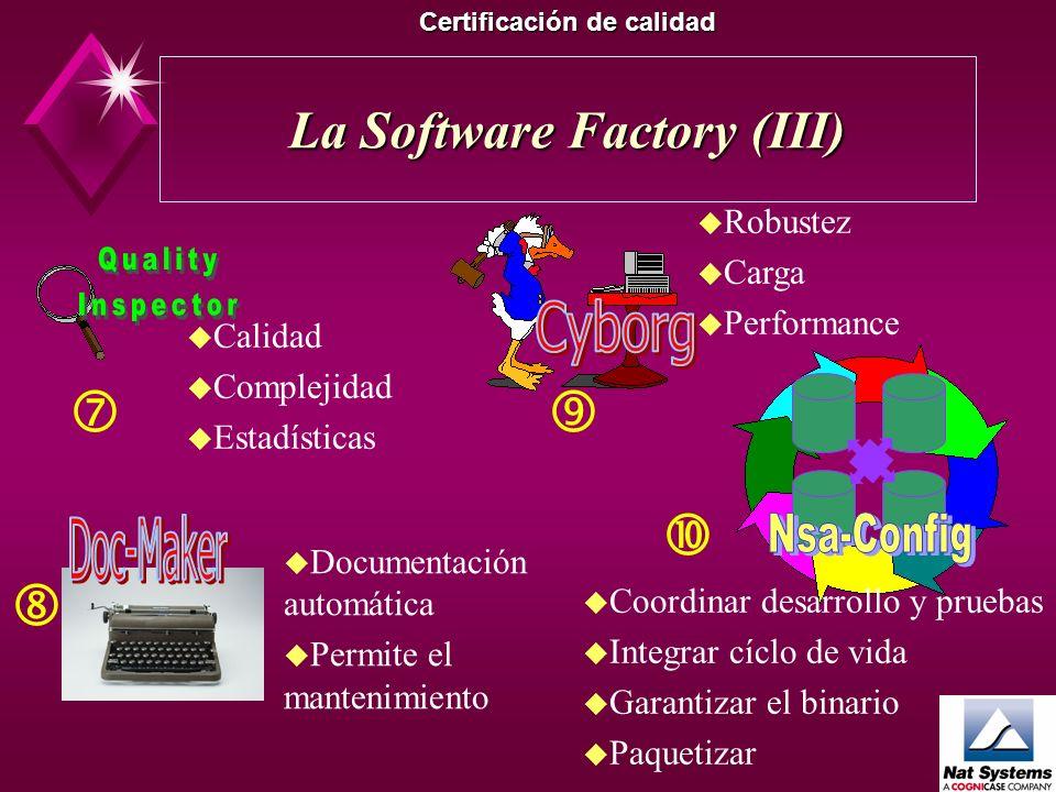 La Software Factory (II) Certificación de calidad u Conectar objetos u Registrar u Firmar el binario u Obedecer a normas integradas u Asistentes u Int
