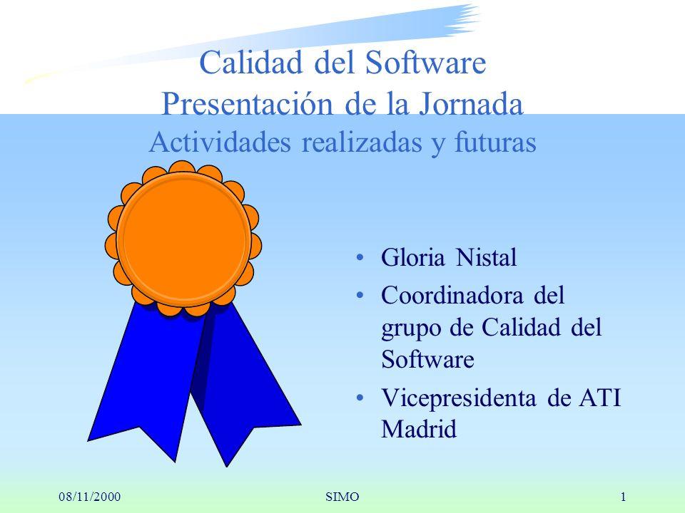 08/11/2000SIMO1 Gloria Nistal Coordinadora del grupo de Calidad del Software Vicepresidenta de ATI Madrid Calidad del Software Presentación de la Jornada Actividades realizadas y futuras