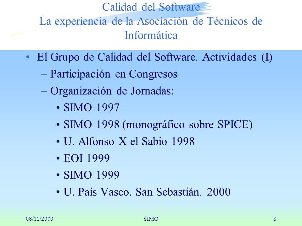 08/11/2000SIMO8 Calidad del Software La experiencia de la Asociación de Técnicos de Informática El Grupo de Calidad del Software.