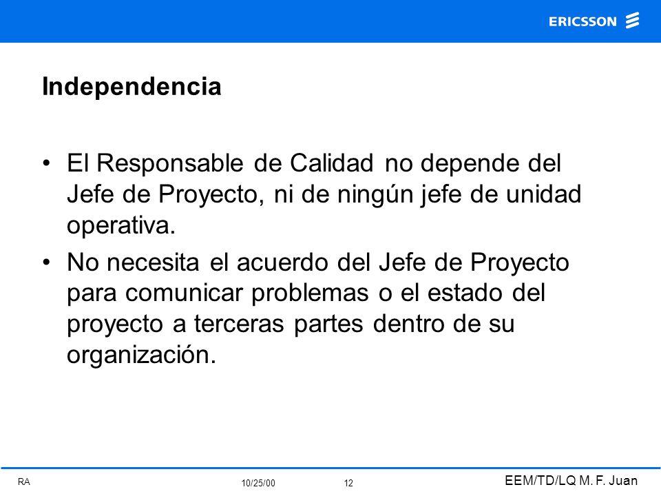 RA 10/25/00 EEM/TD/LQ M. F. Juan 12 Independencia El Responsable de Calidad no depende del Jefe de Proyecto, ni de ningún jefe de unidad operativa. No