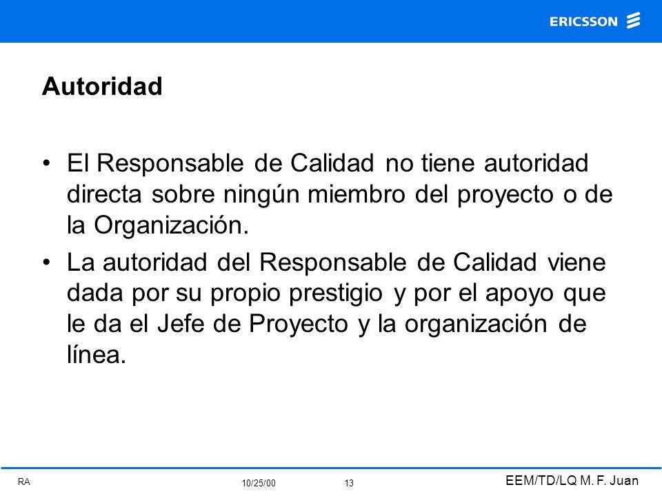 RA 10/25/00 EEM/TD/LQ M. F. Juan 13 Autoridad El Responsable de Calidad no tiene autoridad directa sobre ningún miembro del proyecto o de la Organizac