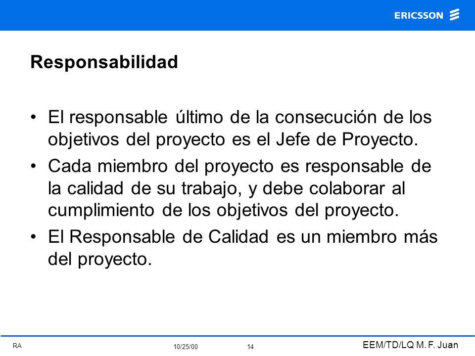 RA 10/25/00 EEM/TD/LQ M. F. Juan 14 Responsabilidad El responsable último de la consecución de los objetivos del proyecto es el Jefe de Proyecto. Cada