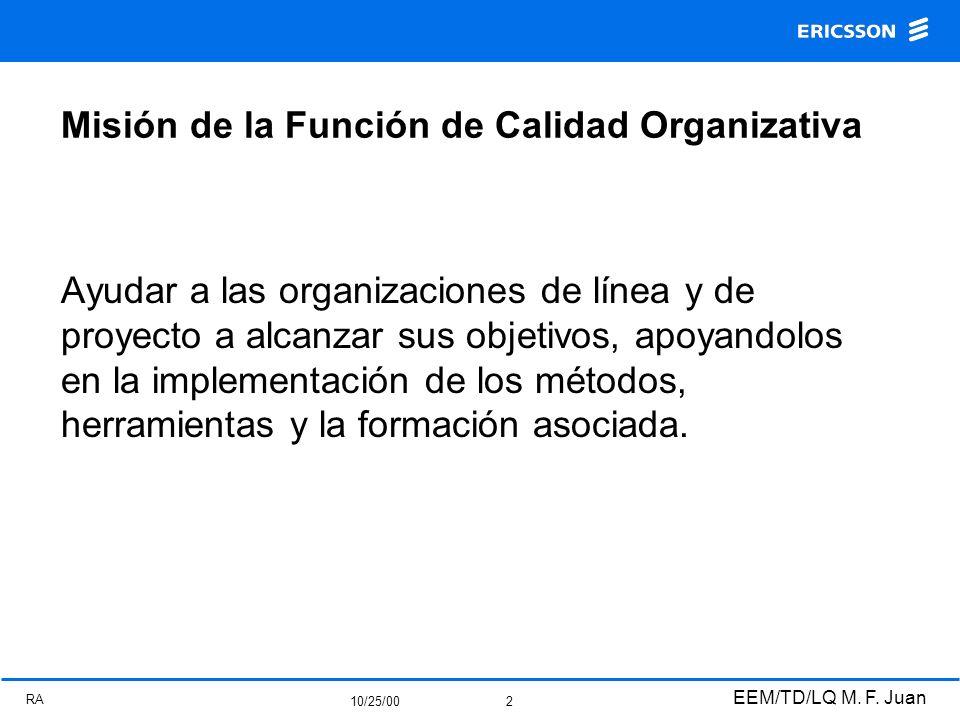 RA 10/25/00 EEM/TD/LQ M. F. Juan 2 Misión de la Función de Calidad Organizativa Ayudar a las organizaciones de línea y de proyecto a alcanzar sus obje