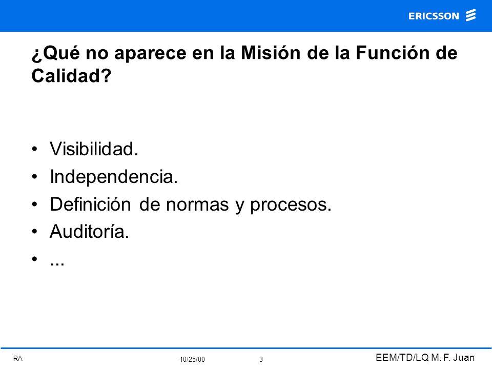 RA 10/25/00 EEM/TD/LQ M. F. Juan 3 ¿Qué no aparece en la Misión de la Función de Calidad? Visibilidad. Independencia. Definición de normas y procesos.