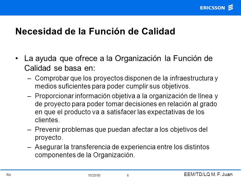 RA 10/25/00 EEM/TD/LQ M. F. Juan 6 Necesidad de la Función de Calidad La ayuda que ofrece a la Organización la Función de Calidad se basa en: –Comprob