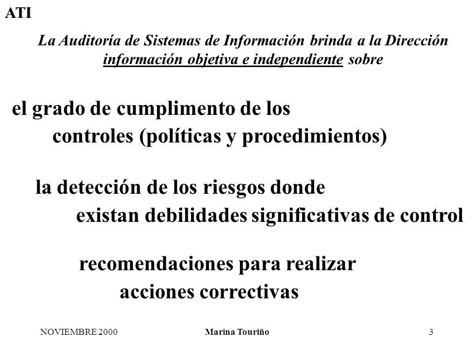 ATI NOVIEMBRE 2000Marina Touriño14 Calidad del software Eficaz y eficiente Potencial reducción del tiempo de la auditoría de sistemas de información Evidencias del cumplimiento (auditable y comprobable)
