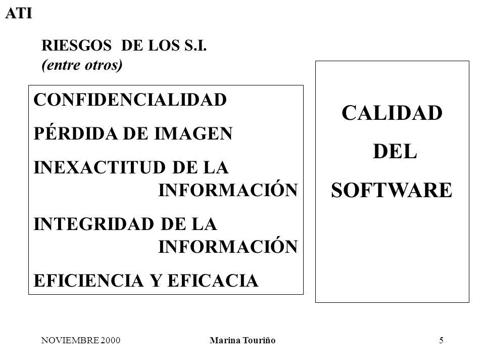 ATI NOVIEMBRE 2000Marina Touriño6 ÁREAS DE ACTIVIDAD de la AUDITORÍA DE S.I.