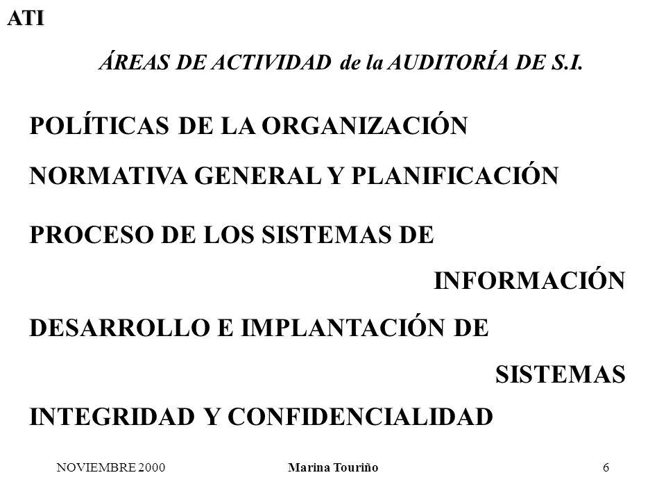 ATI NOVIEMBRE 2000Marina Touriño7 NORMATIVA GENERAL Y PLANIFICACIÓN ALCANCE/OBJETIVO DE CONTROL La Dirección a su más alto nivel debe establecer un marco de políticas y normativas que consolide la implantación de procedimientos, que aseguren el cumplimiento de esas políticas, en los distintos procesos de las tecnologías de la información