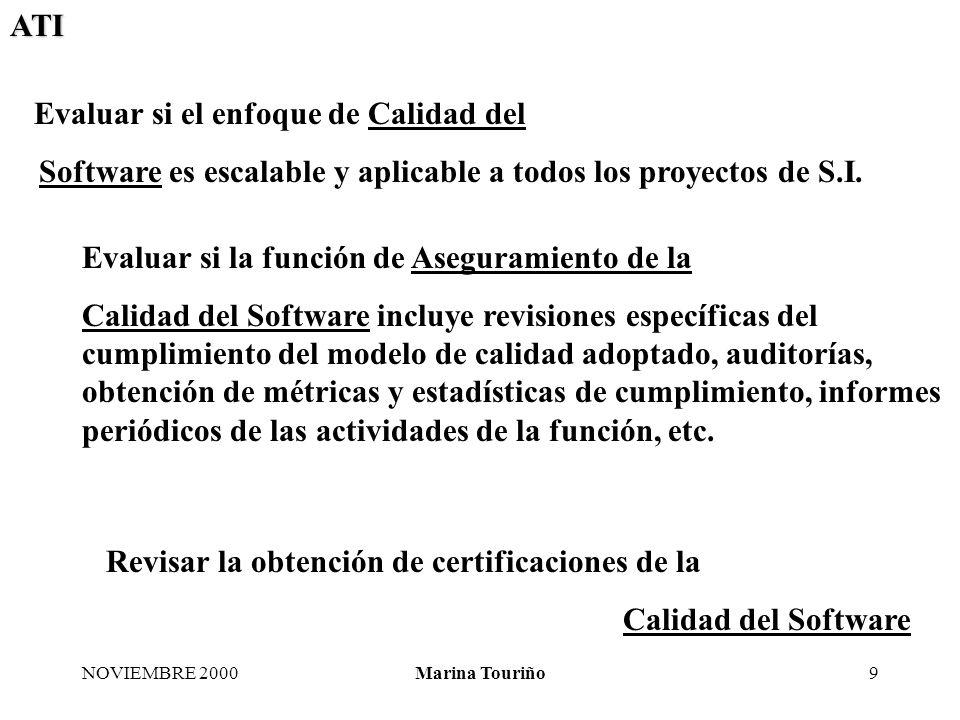ATI NOVIEMBRE 2000Marina Touriño10 Comprobar si el método de Calidad del Software adoptado incluye todas las etapas del ciclo de vida de desarrollo de S.I.