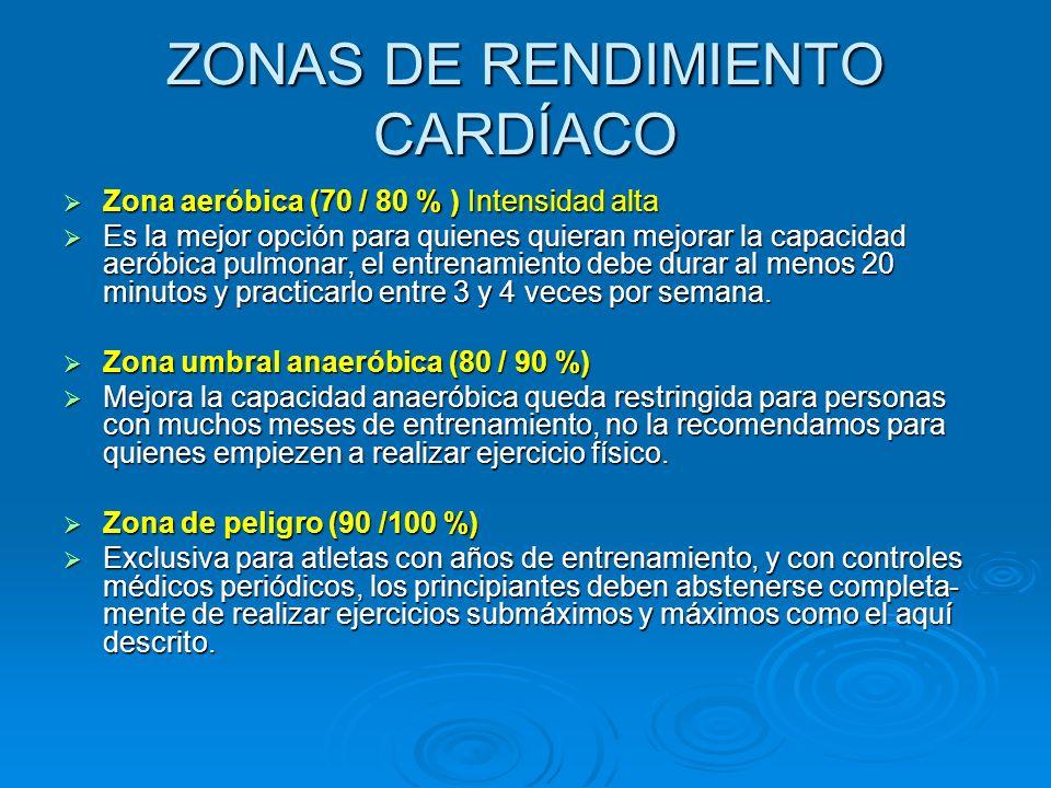 ZONAS DE RENDIMIENTO CARDÍACO Zona Cardíaca de Seguridad (50 / 60 % ) Baja intensidad Zona Cardíaca de Seguridad (50 / 60 % ) Baja intensidad Es utili