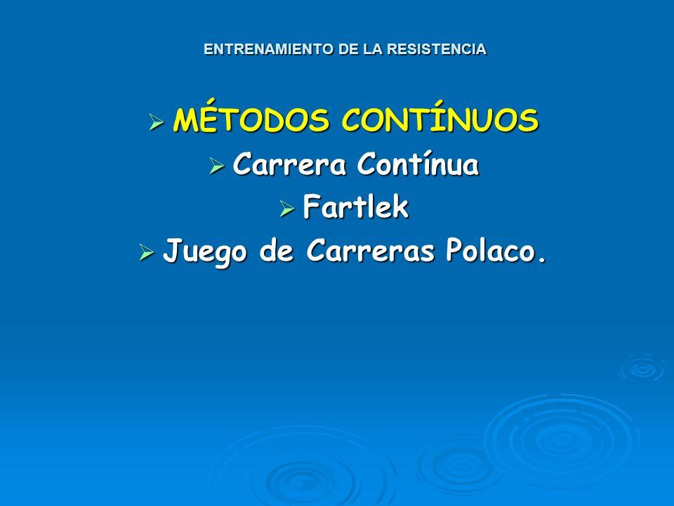 LA RESISTENCIA MÉTODOS DE ENTRENAMIENTO Y DESARROLLO CLASIFICACIÓN PRINCIPAL: CLASIFICACIÓN PRINCIPAL: CONTÍNUOS. P.e. Carrera Contínua, Fartlek. CONT