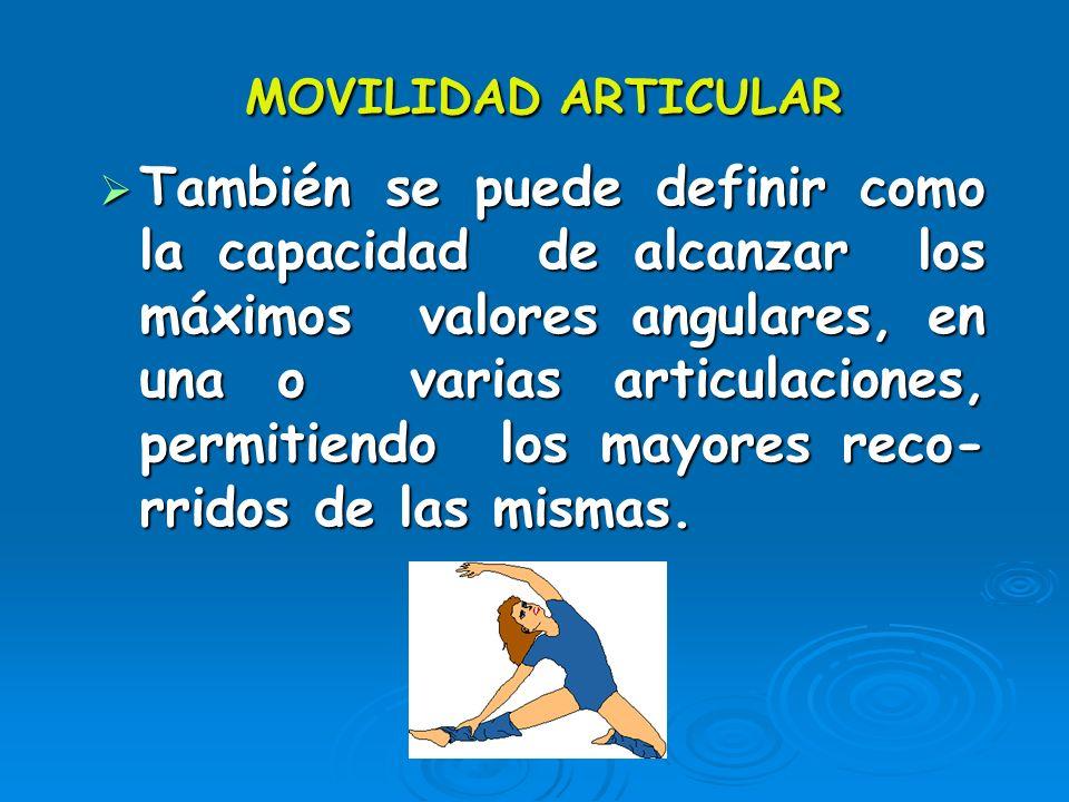 MOVILIDAD ARTICULAR Cualidad física que nos permite realizar movimientos de gran amplitud con alguna parte de nuestro cuerpo. Cualidad física que nos
