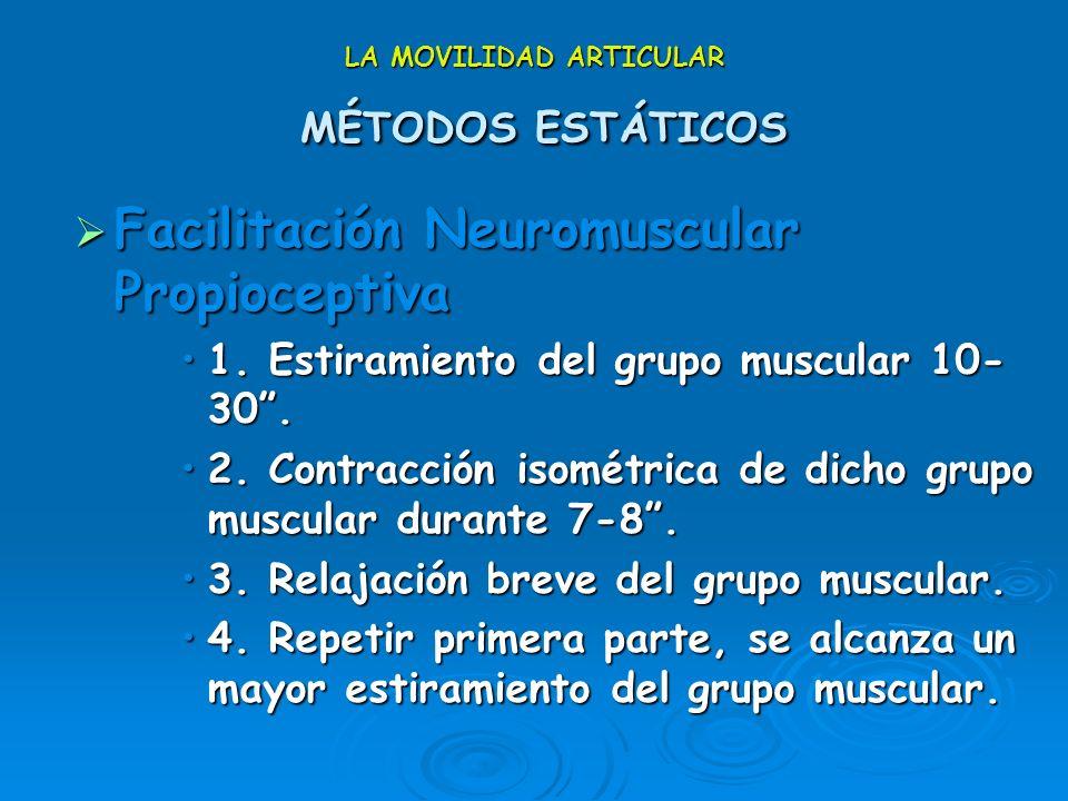 LA MOVILIDAD ARTICULAR MÉTODOS ESTÁTICOS Facilitación Neuromuscular Propioceptiva (FNP) Facilitación Neuromuscular Propioceptiva (FNP) Tomado de la Fi