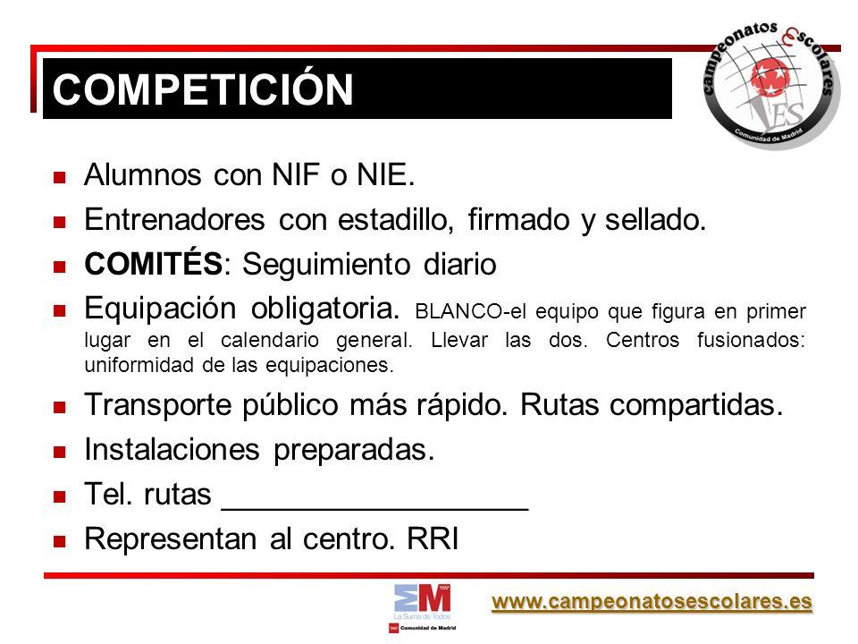 www.campeonatosescolares.es Alumnos con NIF o NIE.