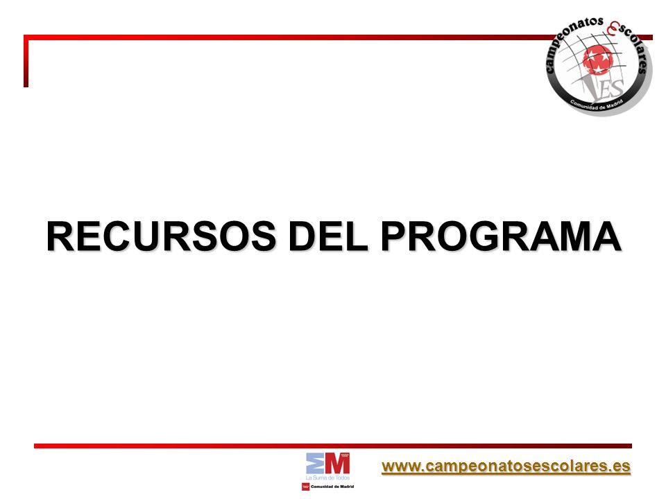 www.campeonatosescolares.es RECURSOS DEL PROGRAMA