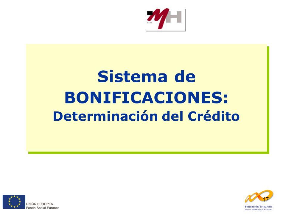 17 Sistema de BONIFICACIONES: Determinación del Crédito Sistema de BONIFICACIONES: Determinación del Crédito
