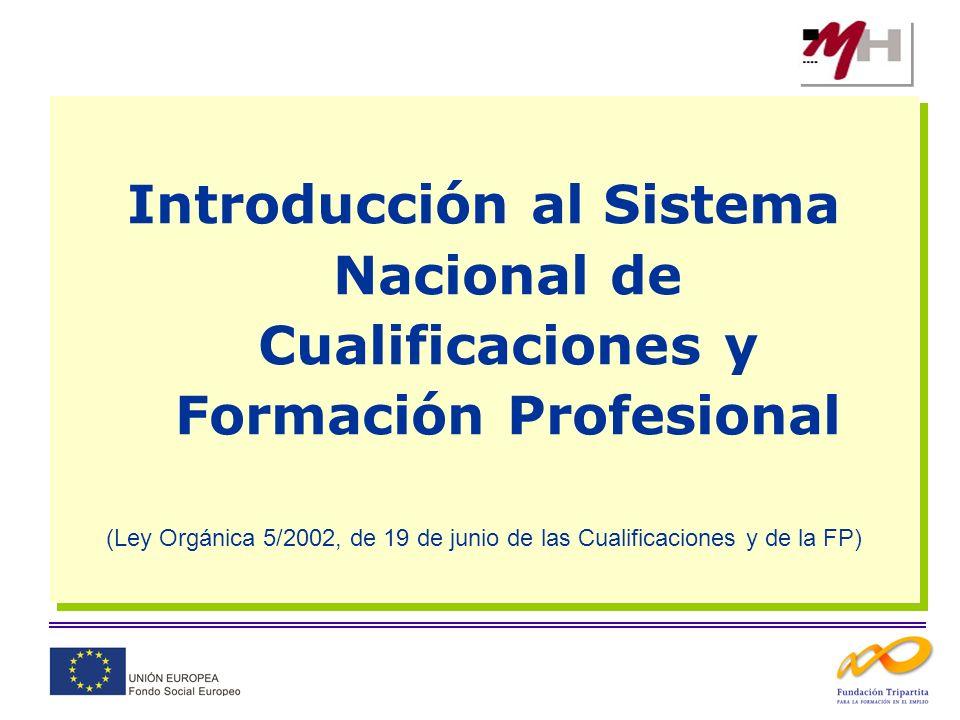 Introducción al Sistema Nacional de Cualificaciones y Formación Profesional (Ley Orgánica 5/2002, de 19 de junio de las Cualificaciones y de la FP) In