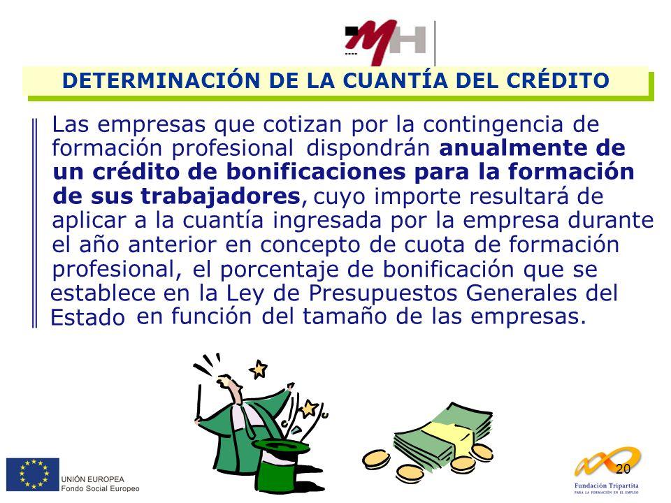 20 Las empresas que cotizan por la contingencia de formación profesional DETERMINACIÓN DE LA CUANTÍA DEL CRÉDITO dispondrán anualmente de un crédito d