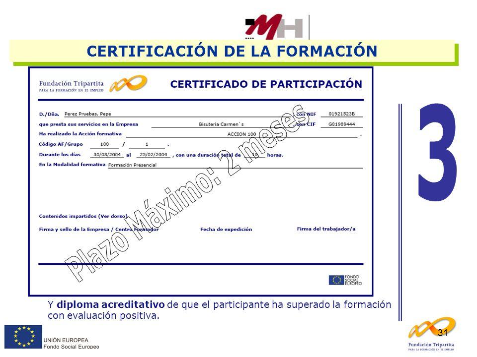 31 Y diploma acreditativo de que el participante ha superado la formación con evaluación positiva. CERTIFICACIÓN DE LA FORMACIÓN