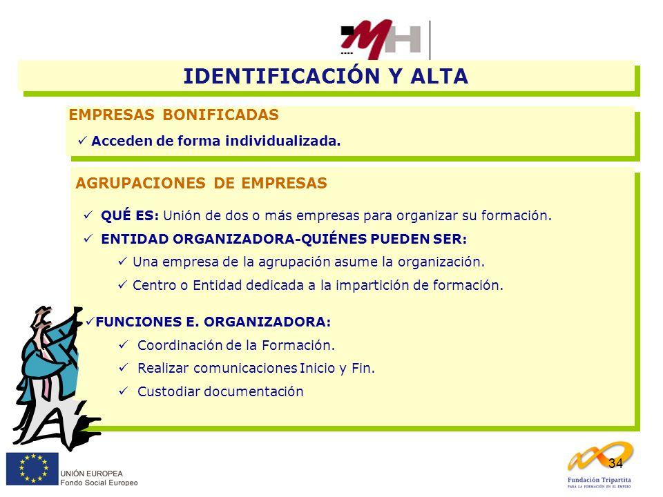 34 EMPRESAS BONIFICADAS Acceden de forma individualizada. IDENTIFICACIÓN Y ALTA AGRUPACIONES DE EMPRESAS FUNCIONES E. ORGANIZADORA: Coordinación de la