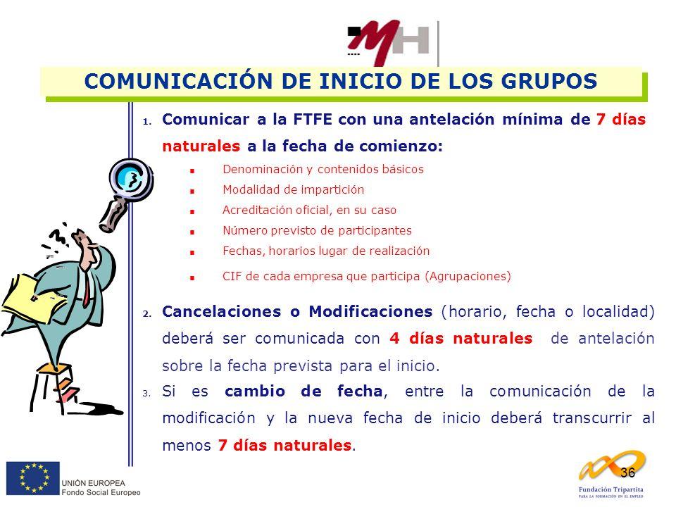 36 1. Comunicar a la FTFE con una antelación mínima de 7 días naturales a la fecha de comienzo: Denominación y contenidos básicos Modalidad de imparti