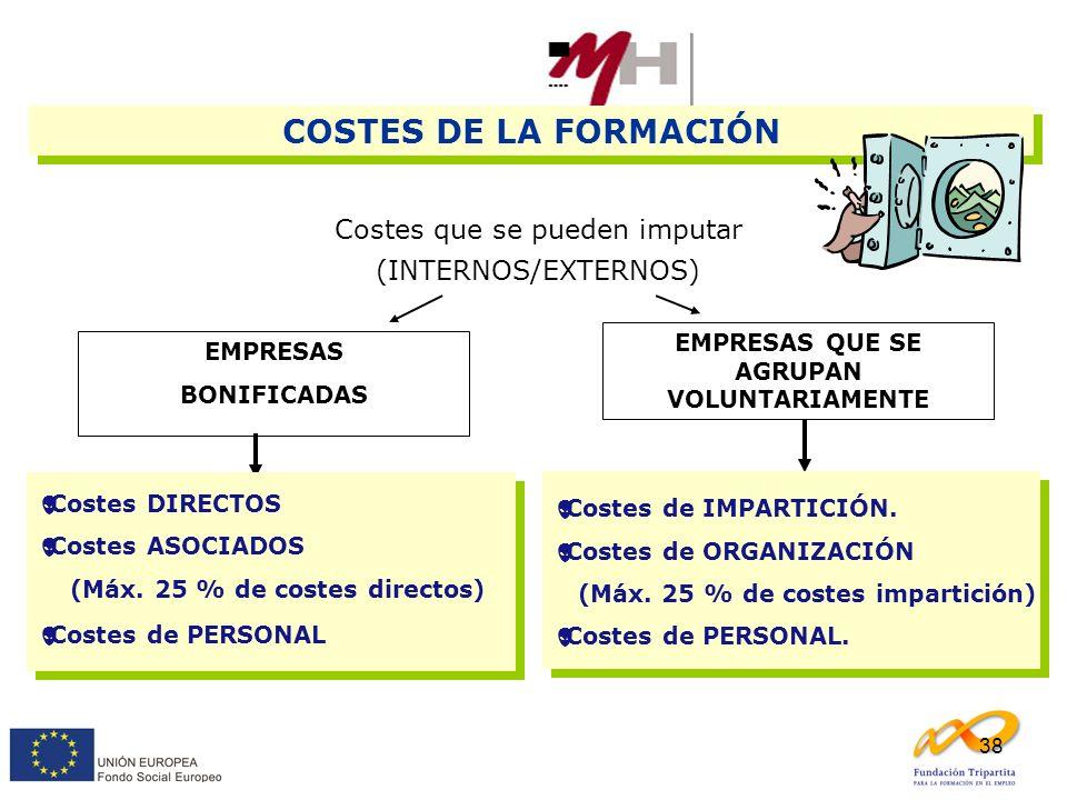 38 COSTES DE LA FORMACIÓN Costes que se pueden imputar (INTERNOS/EXTERNOS) EMPRESAS BONIFICADAS EMPRESAS QUE SE AGRUPAN VOLUNTARIAMENTE Costes DIRECTO