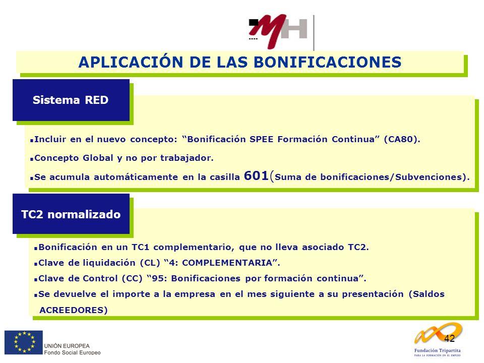 42 APLICACIÓN DE LAS BONIFICACIONES Incluir en el nuevo concepto: Bonificación SPEE Formación Continua (CA80). Concepto Global y no por trabajador. Se