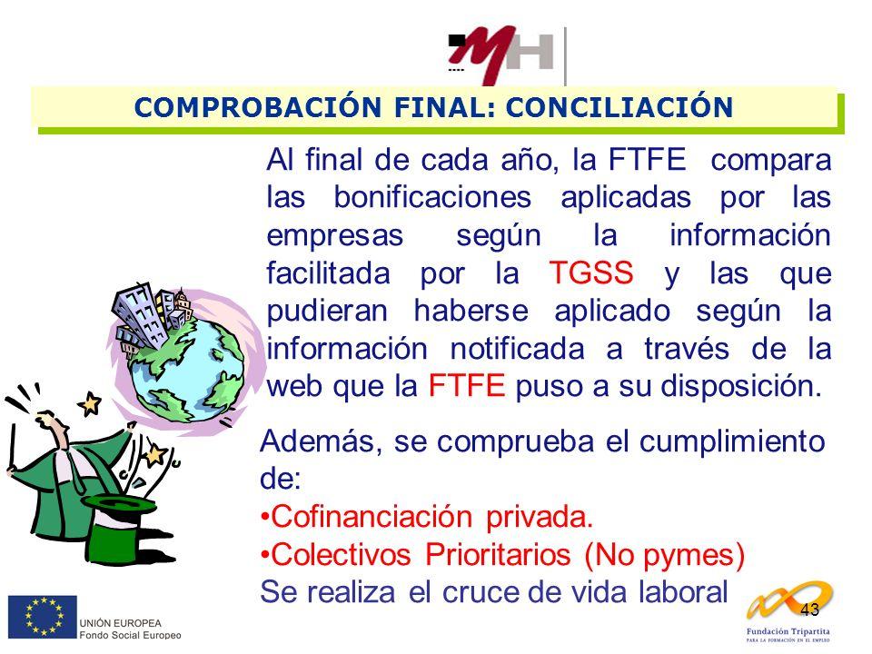 43 COMPROBACIÓN FINAL: CONCILIACIÓN Al final de cada año, la FTFE compara las bonificaciones aplicadas por las empresas según la información facilitad