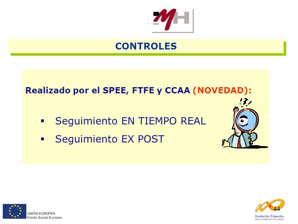 44 CONTROLES Realizado por el SPEE, FTFE y CCAA (NOVEDAD): Seguimiento EN TIEMPO REAL Seguimiento EX POST