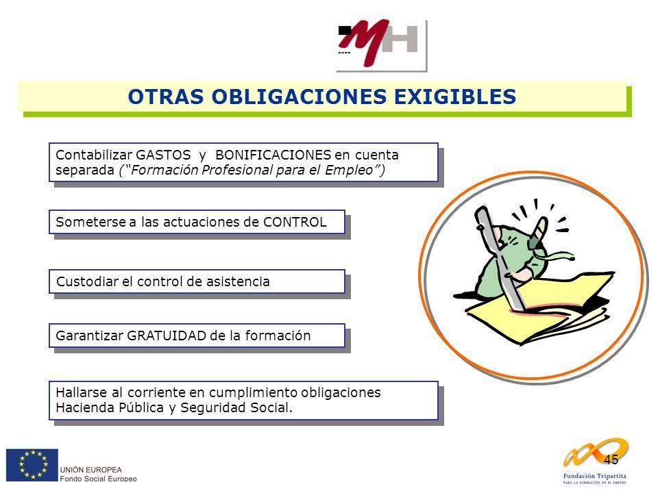 45 Contabilizar GASTOS y BONIFICACIONES en cuenta separada (Formación Profesional para el Empleo) Someterse a las actuaciones de CONTROL Custodiar el