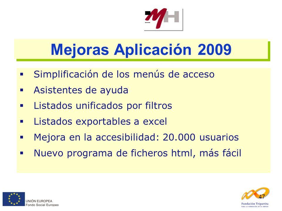 47 Mejoras Aplicación 2009 Simplificación de los menús de acceso Asistentes de ayuda Listados unificados por filtros Listados exportables a excel Mejo