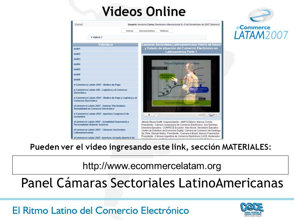 Panel Cámaras Sectoriales LatinoAmericanas http://www.ecommercelatam.org Pueden ver el video ingresando este link, sección MATERIALES: Videos Online