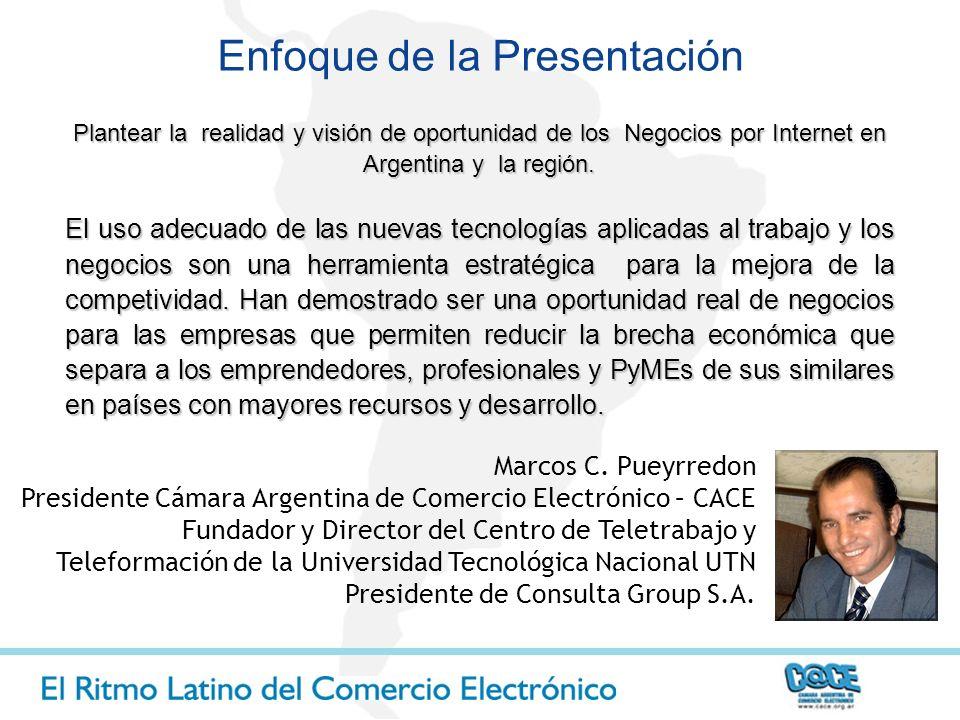 Marcos C. Pueyrredon Presidente Cámara Argentina de Comercio Electrónico – CACE Fundador y Director del Centro de Teletrabajo y Teleformación de la Un