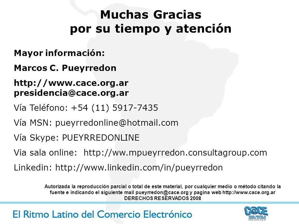 Mayor información: Marcos C. Pueyrredon http://www.cace.org.ar presidencia@cace.org.ar Vía Teléfono: +54 (11) 5917-7435 Vía MSN: pueyrredonline@hotmai
