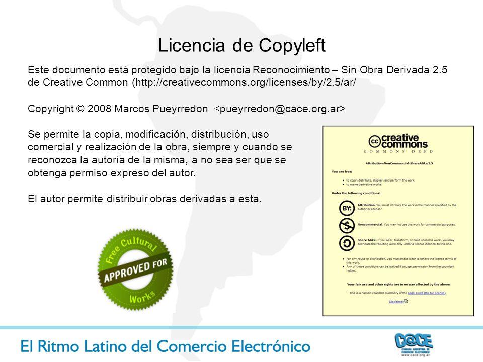 Licencia de Copyleft Este documento está protegido bajo la licencia Reconocimiento – Sin Obra Derivada 2.5 de Creative Common (http://creativecommons.