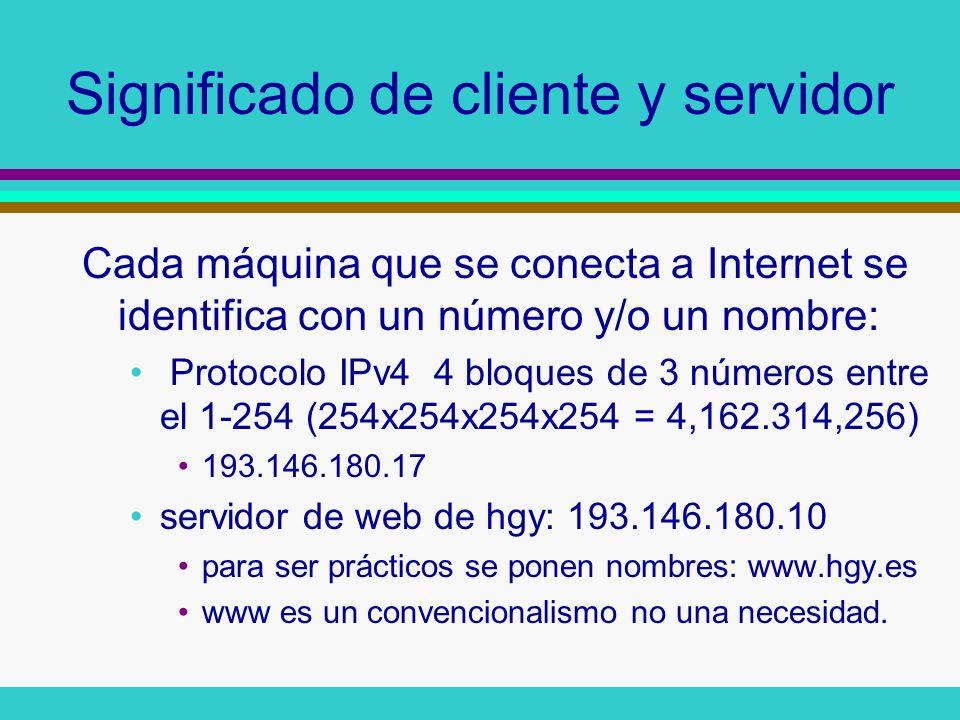 Significado de cliente y servidor Cada máquina que se conecta a Internet se identifica con un número y/o un nombre: Protocolo IPv4 4 bloques de 3 núme