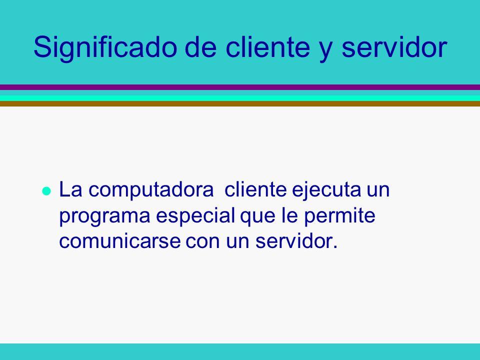 El Cliente conecta con el Servidor Conexión entre cliente y servidor, el servidor usualmente sirve al cliente los datos solicitados (por ejemplo, el mail, una pagina web etc).