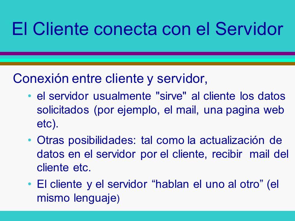 El Cliente conecta con el Servidor Conexión entre cliente y servidor, el servidor usualmente