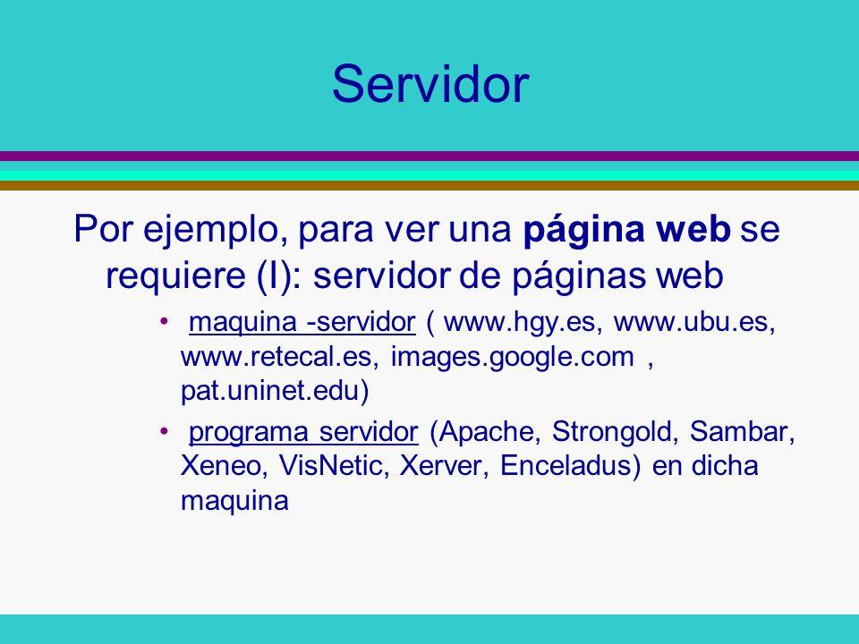 Cliente Por ejemplo, para ver una página web se requiere (II): cliente de páginas web maquina-cliente (ordenador conectable a ese servidor, a través de una red, como por ejemplo, Internet) programa-cliente (Mozilla, Netscape, Konqueror, Lynx, Opera, Mosaic, Explorer, EarthNavigator, GoSuRF, K-Meleon Abolimba, A1Surf!, Ariadne, Callisto, CrystalPort, Dominica, DynaBrowse etc)