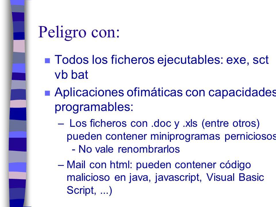 Peligro con: n Todos los ficheros ejecutables: exe, sct vb bat n Aplicaciones ofimáticas con capacidades programables: – Los ficheros con.doc y.xls (entre otros) pueden contener miniprogramas perniciosos.